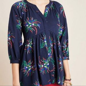 Anthropologie Maeve Winona Navy Floral Tunic